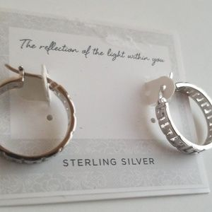 Sterling silver design hoops